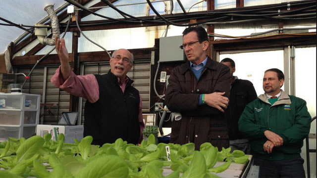 Gov. Dannel P. Malloy toured an East Hartford farm that received a grant to recover from severe storm damage. (Picture courtesy from governor's Twitter account)